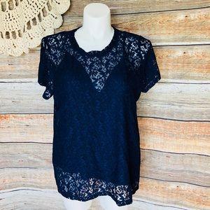 DKNY NAVY BLUE LACE 2pc blouse 🔥